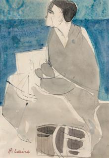 Camille Hilaire, femme à l'antique, aquarelle