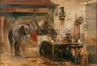 Camille Roqueplan, cheval et âne, tableau