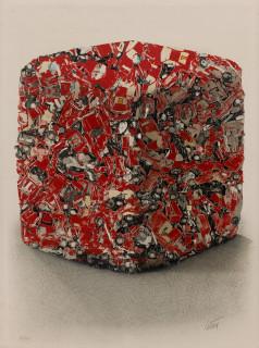 César, compression Ferrari rouge, lithographie