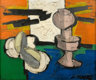 Claude Vénard, la lampe mauve, tableau