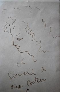 Jean Cocteau, visage, dessin