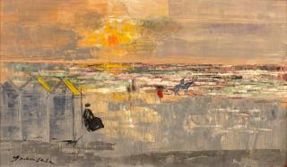 Emilio Grau Sala, cavalier sur la plage, tableau