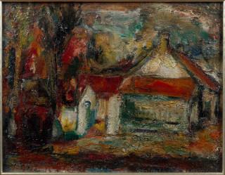 Eugène Leroy, maisons aux toits rouges, huile sur toile