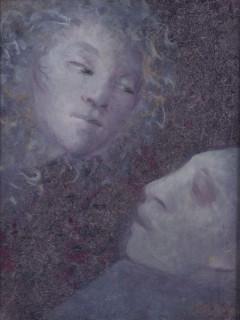 Léonor Fini, deux femmes, huile sur papier