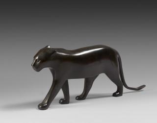 François Pompon, panthère noire aux oreilles couchées, sculpture