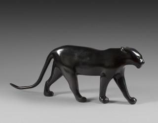 François Pompon, panthère aux oreilles couchées, sculpture