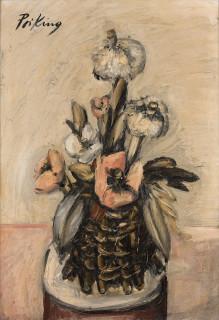 Franz Priking, panier fleuri, tableau