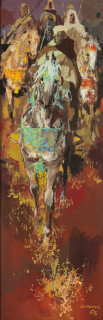 Gaston Mantel, cavaliers et fantasia, tableau