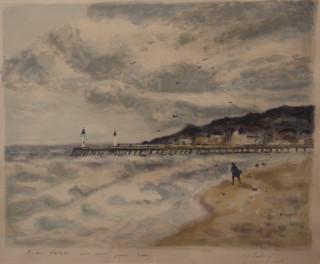Gaston Sebire, bord de mer, aquarelles et lithographie