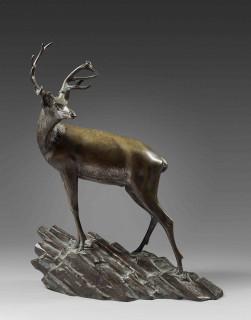 Georges Lavroff, Cerf, bronze, vente aux enchères