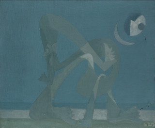 Georges Papazoff, composition bleue, tableau