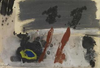 Gérard Schneider, composition 1965, aquarelle