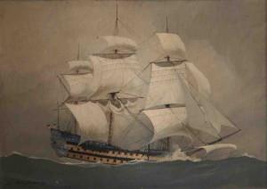Léon Haffner, trois mâts, huile sur panneau