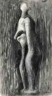 Henry Moore, Standing wood figure, dessin