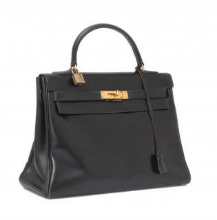 Hermes sac Kelly, cuir noir
