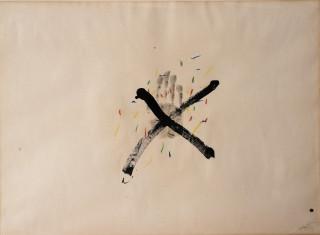 Antoni Tapies, composition, gouache et encre