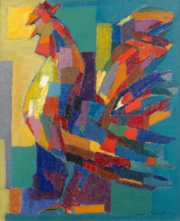 Jean Chevolleau, le coq, tableau