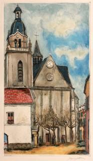 Jacques Villon, l'église de Limours, d'après Maurice Utrillo, vente aux enchères