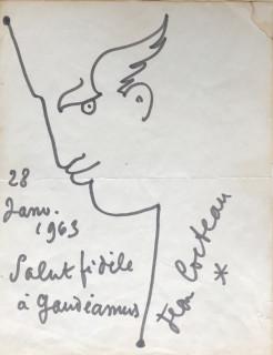 Jean Cocteau, profil, encre