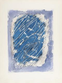 Jean Fautrier, écriture sur fond bleu, gravure