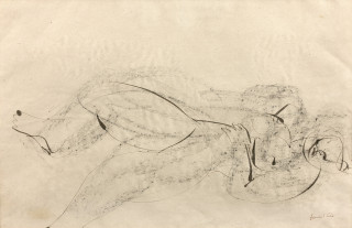 Jean Fautrier, nu allongé, encre, dessin original