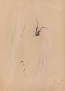 Jean Fautrier, nu, dessin encre et pastel