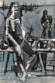 Jean Jansem, personnage assis, tableau