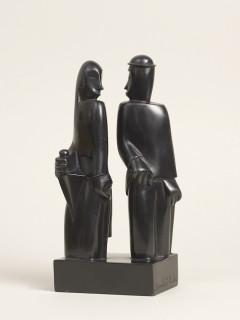 Jean Lambert Rucki, couple au parapluie, bronze