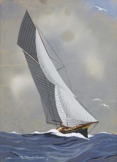 Léon Haffner, voilier, gouache
