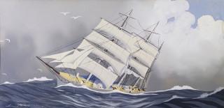 Léon Haffner, voilier, aquarelle