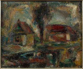 Eugène Leroy, maisons aux toits rouges, panneau