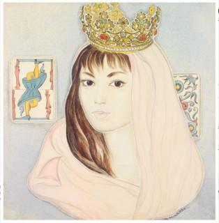 Genia Minache, jeune femme couronnée, aquarelle