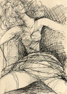 Marcel Gromaire, jeune femme assise de face, dessin