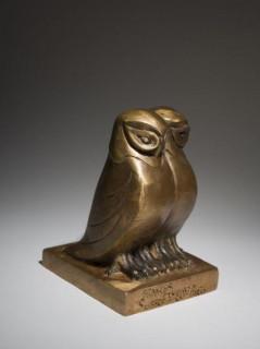 Marcel Sandoz, deux chouettes, bronze