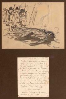 """Maximilien Luce, croquis au lavis pour le tableau """"La Bataille"""""""