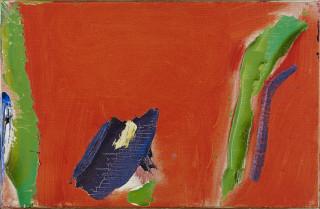 Olivier Debré, Rouge en tache bleue, traces vertes, tableau