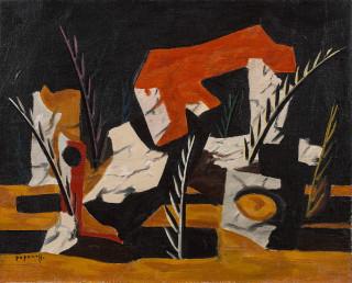 Georges Papazoff, paysage en Dordogne, tableau