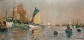 Paul Emile Lecomte, voiliers au port, tableau