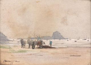 Pierre Brette, ramassage de goemons, aquarelle