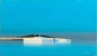 Pierre Doutreleau, barques blanches, tableau