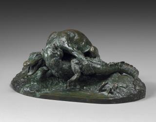 Pierre Jules Mène, Jaguar et Caiman, bronze