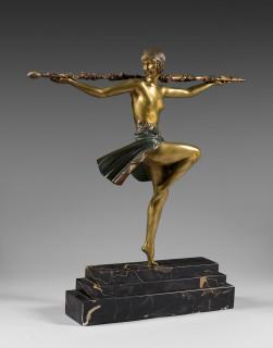 Pierre Le Faguays, danseuse tenant un thyrse, sculpture