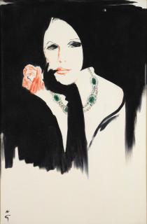Deux grand tableaux d'après René Gruau aux enchères