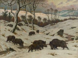 Georges Frédéric Rotig, sangliers dans un paysage de neige