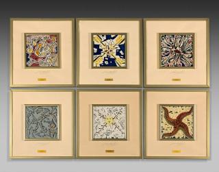 Salvador Dali, ensemble de de six carreaux de céramiques
