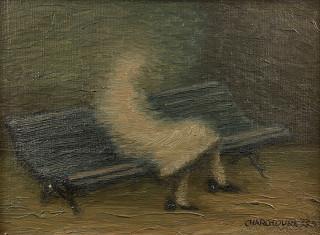 Serge Charchoune, la petite liseuse, tableau
