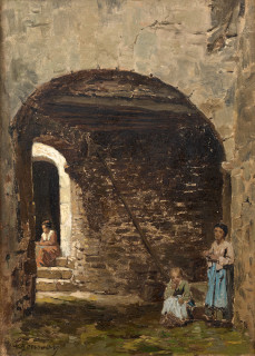 Théodore Jourdan, scène d'un village, tableau