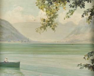 Victor Charreton, promenade en barque, tableau
