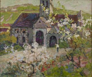 Victor Charreton, la petite église au printemps