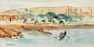 Yves Brayer, au borde de l'Oued, aquarelle